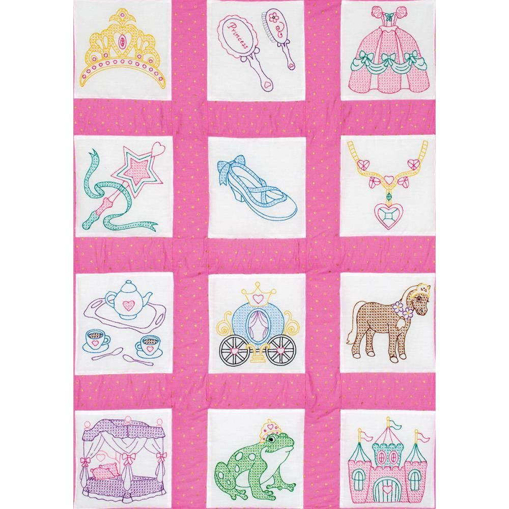 Princess Quilt Blocks Stamped Embroidery 9 X 9 12pkg