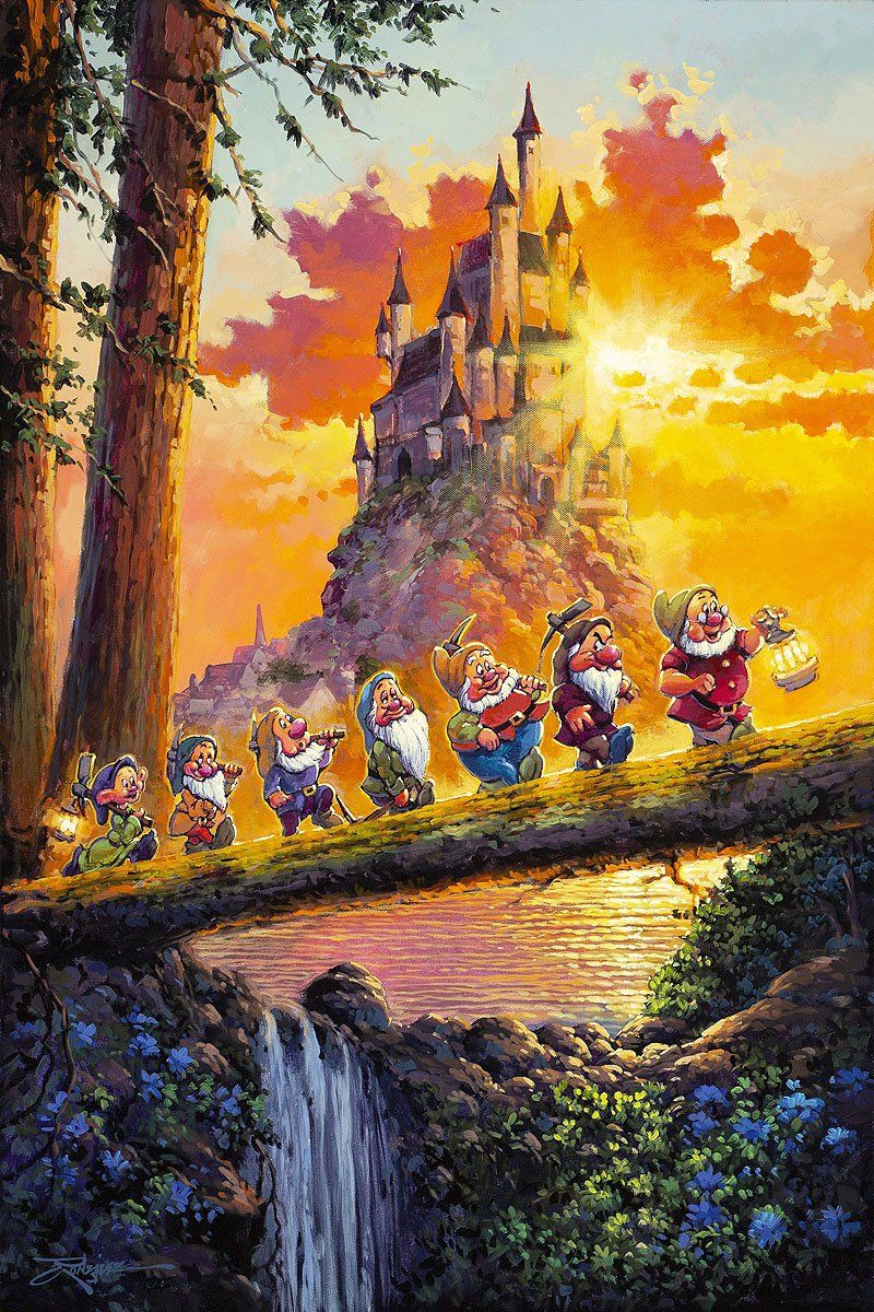 Snow White and the Seven Dwarfs Walt Disney Fine Art Rodel Gonzalez Signed Limited Edition of 95 on Canvas