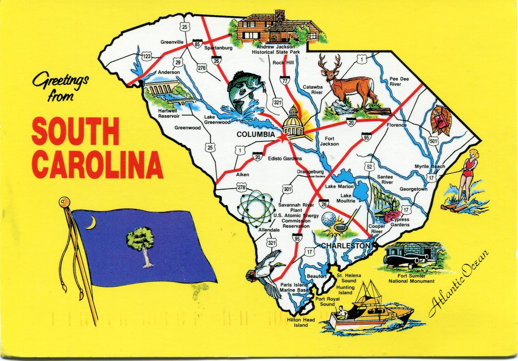 South Carolina Map Carolina usa and Travel posters