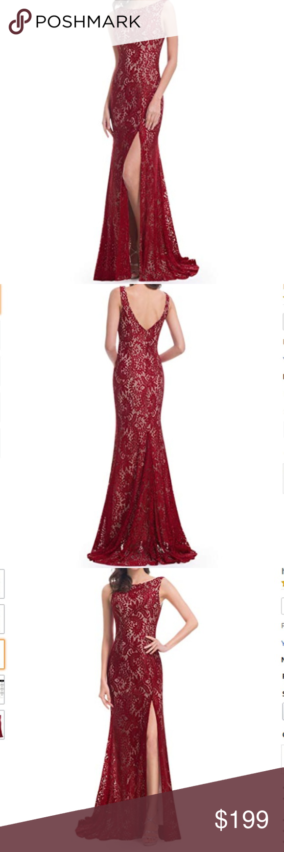 Nwt lace high slit open back evening gown boutique in my posh