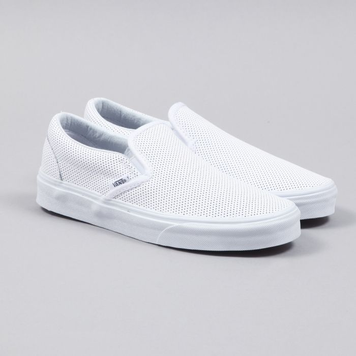 vans leather slip ons white
