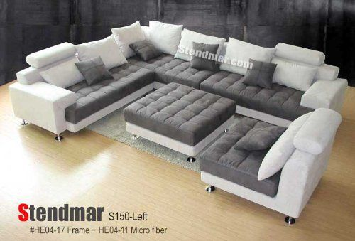 5PC NEW MODERN GREY MICROFIBER BIG SECTIONAL SOFA SET S150LG  STENDMAR,http://