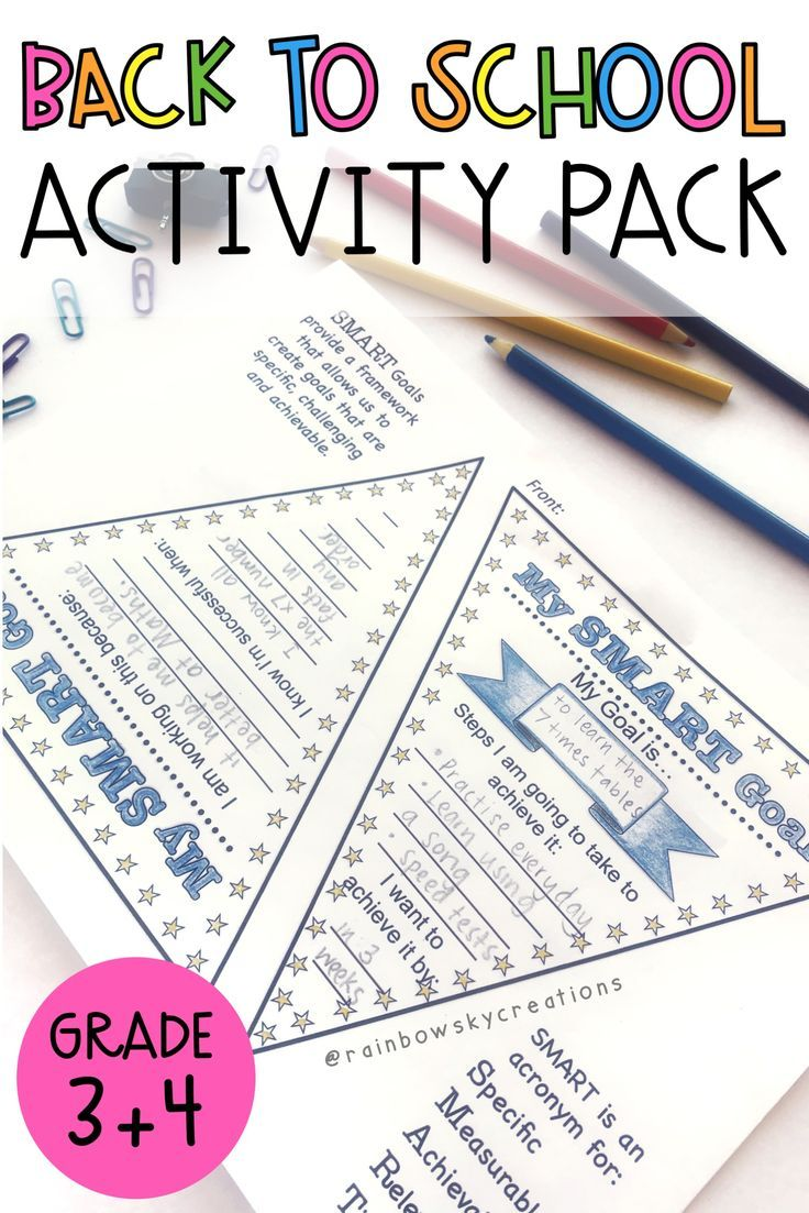 Back to School Activities Pack Grade 3 4 {Paper