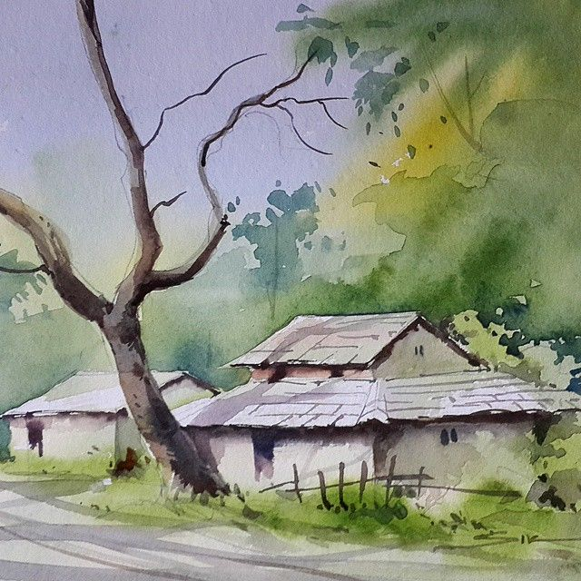 Watercolour Oil Color Painting On Instagram Watercolor Landscape Painting India Art Watercolor Landscape Landscape Drawings Landscape Paintings Acrylic