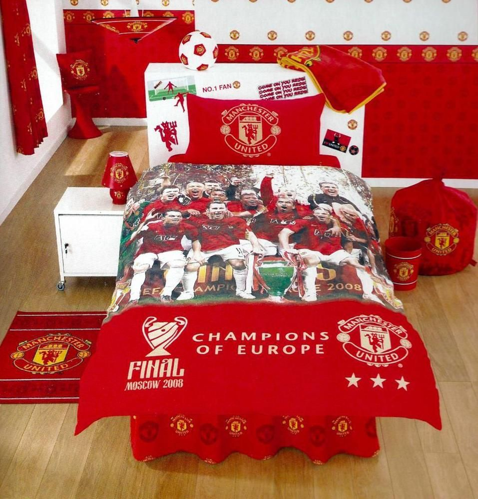 Manchester United Fc Champions Of Europe Single Bed Duvet Set Official Mufc
