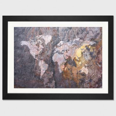 East urban home world map on stone background by michael tompsett east urban home world map on stone background by michael tompsett framed graphic art gumiabroncs Gallery