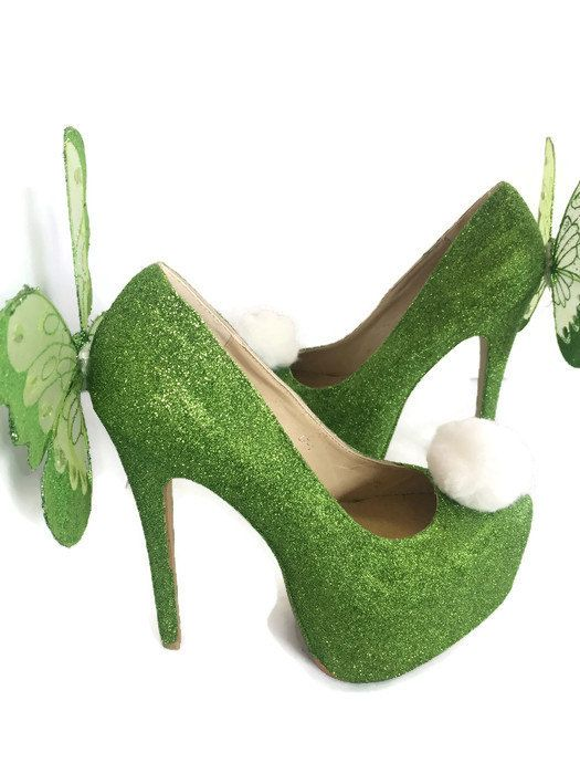 Heeled Tinkerbell shoes green sparkly