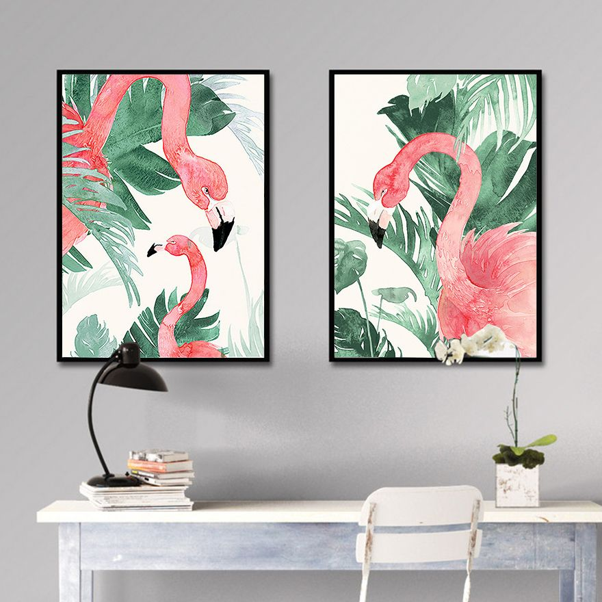 Watercolor Soft Green Leaves Flamingo Canvas Print Wall Art Poster Airbnb Home Decor Cafe Office Hot Canvas Art Painting Wall Art Acrylic Painting Canvas