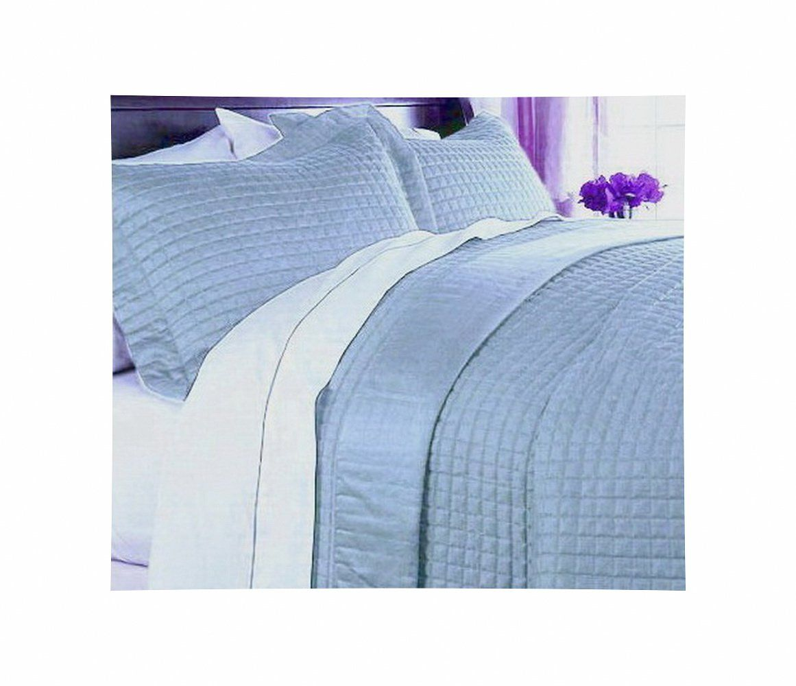 Modern 400tc Egyptian Cotton Solid Blue Bedding Quilt Coverlet Set King Cal King You Can Find More Details By Vis Blue Bedding Quilted Coverlet Coverlet Set
