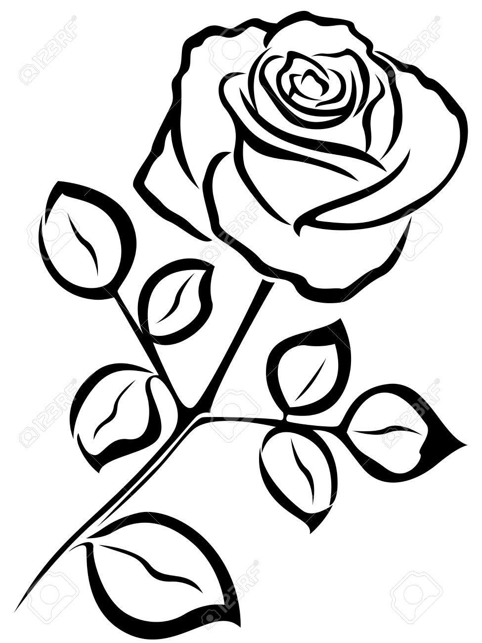 41824880Blackvectoroutlineofsingleroseflower