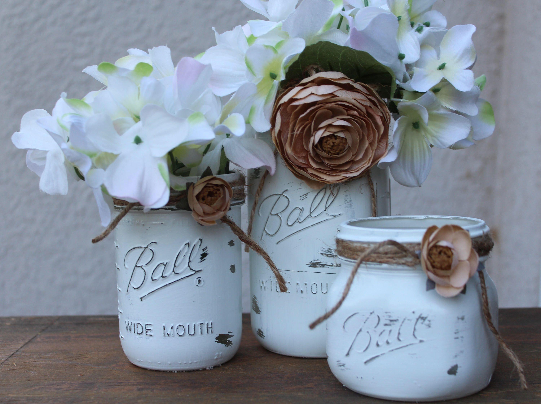 White Painted mason jars Rustic Wedding centerpieces