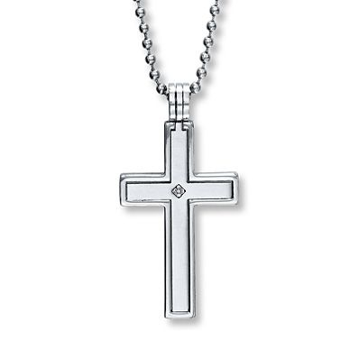 b8768568776 Mens Cross Necklace Diamond Accent Stainless Steel- Kays