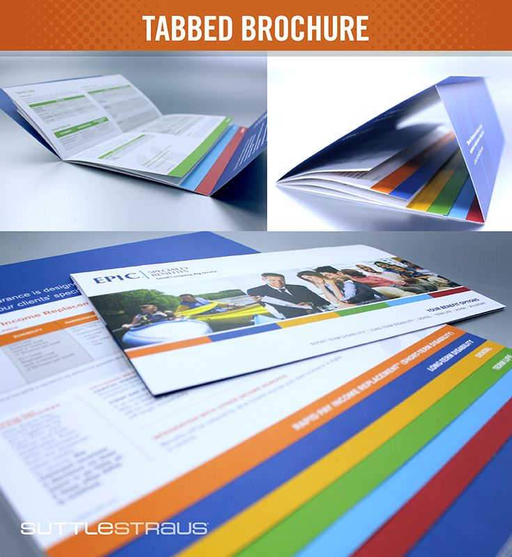 tabbed brochure trifold brochure with an 8 page stitched in booklet