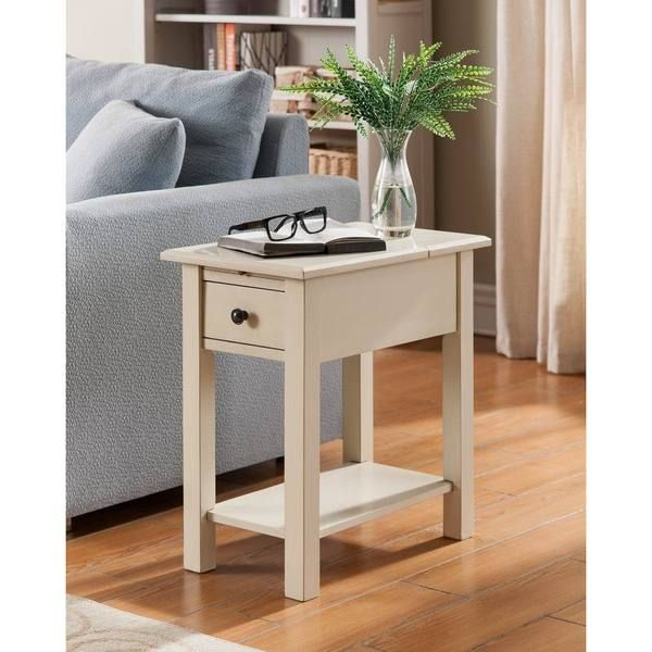 Sutton Antique White Wood Side Table With Charging Station
