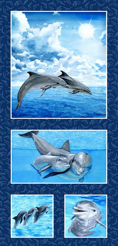 MAKE A SPLASH DOLPHINS WATER OCEAN SEA FABRIC