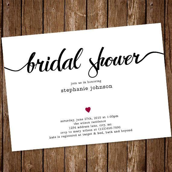 Simple Bridal Shower Invitation   $15