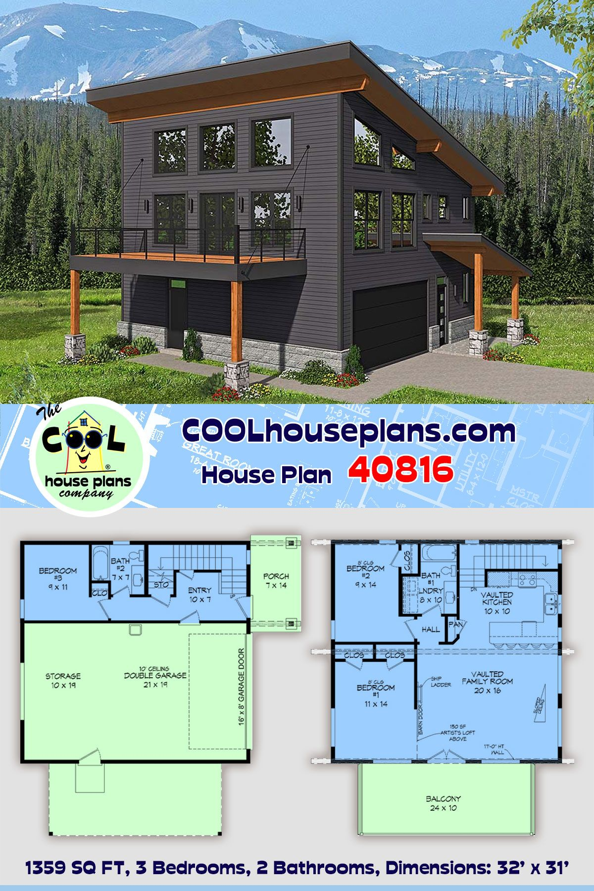 Modern Style Garage Living Plan 40816 With 3 Bed 2 Bath 2 Car Garage Vacation House Plans Garage Apartment Plan House Plans