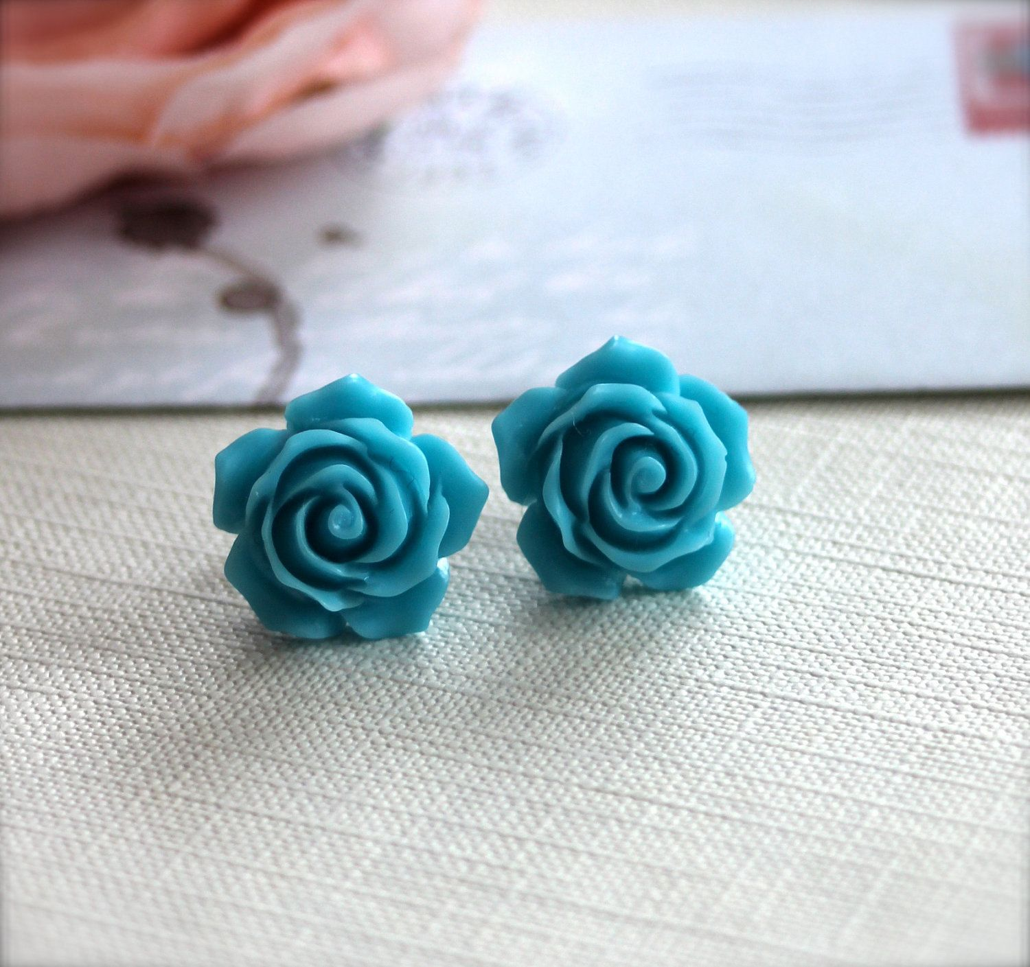 A Sweet Turquoise Blue Flower Ear Post Earrings For Her Womans Earrings  Earrings