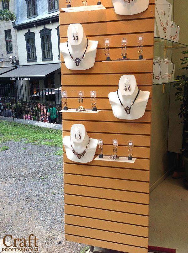 Jewelry Displayed On A Slatwall Jewellery Display Diy Jewelry Display Jewelry Display Booth