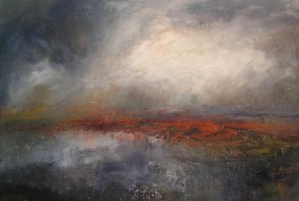 Kristan Baggaley. Break in the Clouds, Burbage Moor, Mixed Media.on Canvas