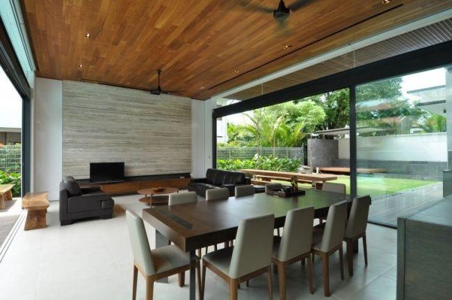 modernes designhaus inneneinrichtung grau holz kombination garten - inneneinrichtung