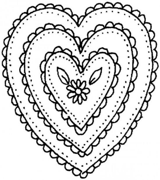 Heart Mosaic Coloring Pages | Heart coloring pages ...