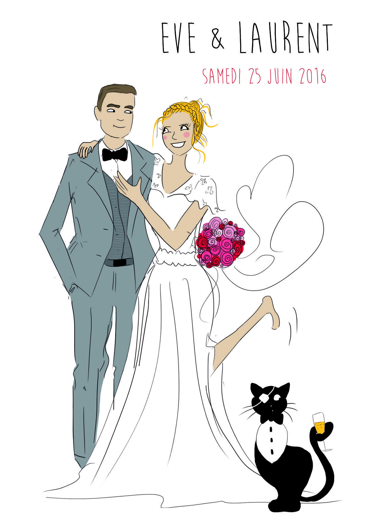 fairepart announcement mariage wedding chat cat classe chic - Dessin Mariage
