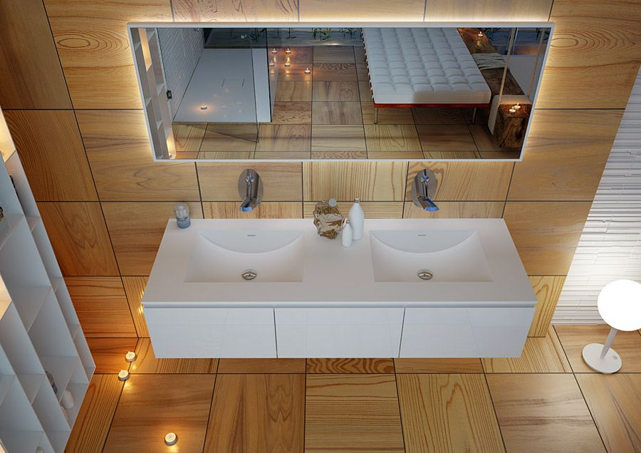 MOMA Design Washbasin model CONCAVO INCA in Corian on top EMOTION SLIDE brillant white laquered and mirror model MIRR LED up.