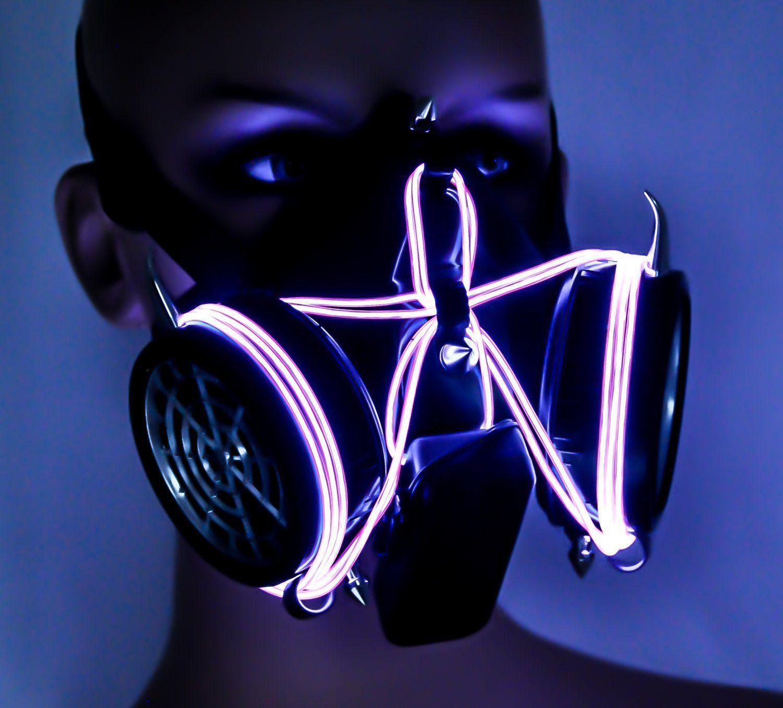 Gas #Mask Purple-El-Wire-Glow-Light-Up Dual-Respirator | Futural ...