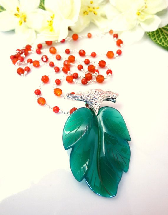0200fe62713fb Green+agate+leaf+carnelian+coral+rosary+sterling+silver+necklace%2C+ ...