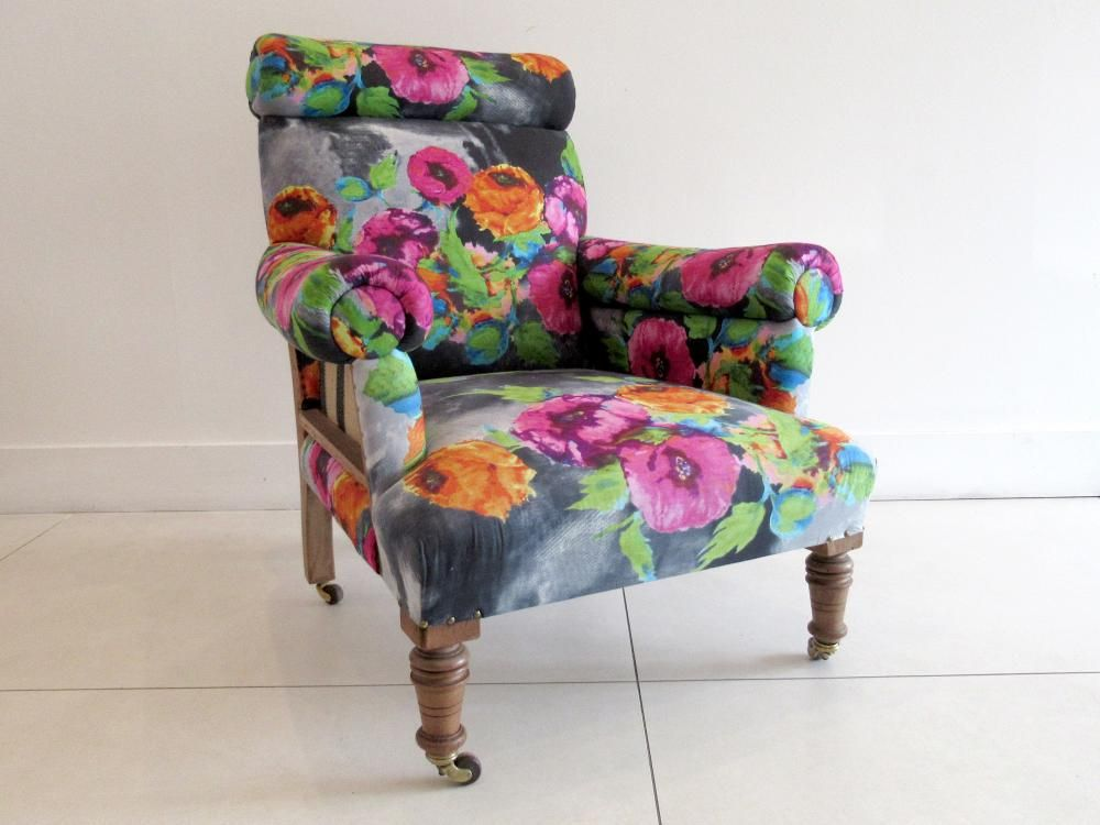 Magnificent A Late Victorian Armchair Reupholstered In Bright Floral Fab Ibusinesslaw Wood Chair Design Ideas Ibusinesslaworg