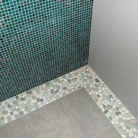 Sea Green And White Pebble Tile Border Pebble Tile White Tile