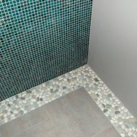 Pebble Floor Tile thumb sliced java tan pebble tile shower floor Sea Green And White Pebble Tile Border