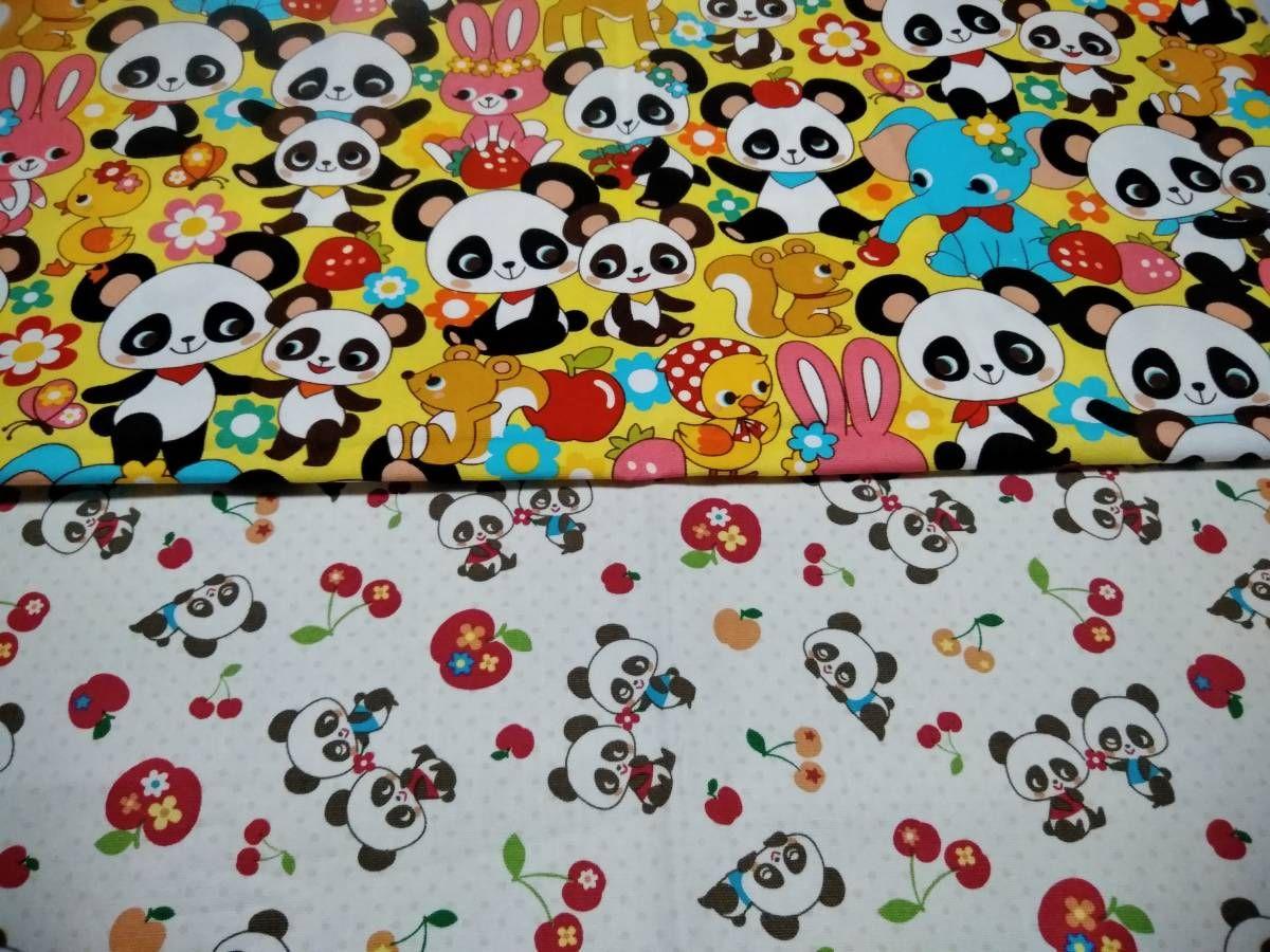 Canvas Panda Dekostoff natur