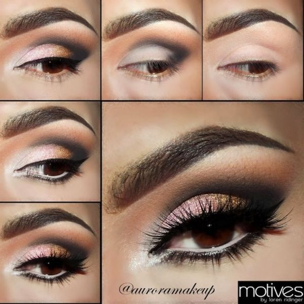 Pink Gold Smoky Eye Makeup Pictorial With Motives Cosmetics By
