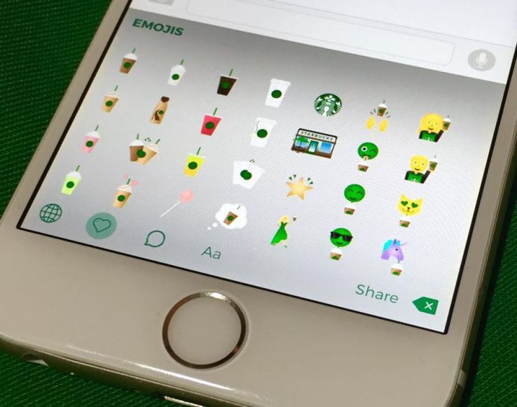 Starbucks Launched Its Own Keyboard App So You Can Text Emojis Of Unicorns Drinking Coffee Techcrunch Starbucks Emoji Emoji Keyboard App Iphone Keyboard App