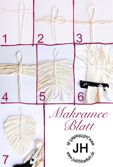Makramee-Blatt – kostenlose Anleitung – judithhaekelt.de #traumfängerbasteln