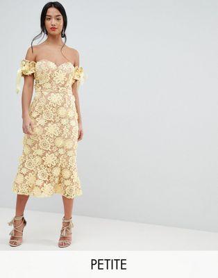 Jarlo Petite – Bardot-Kleid aus Spitze in Midilänge mit ...