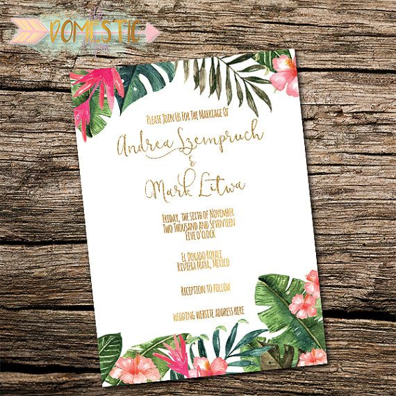 Destination Wedding Invitation Tropical