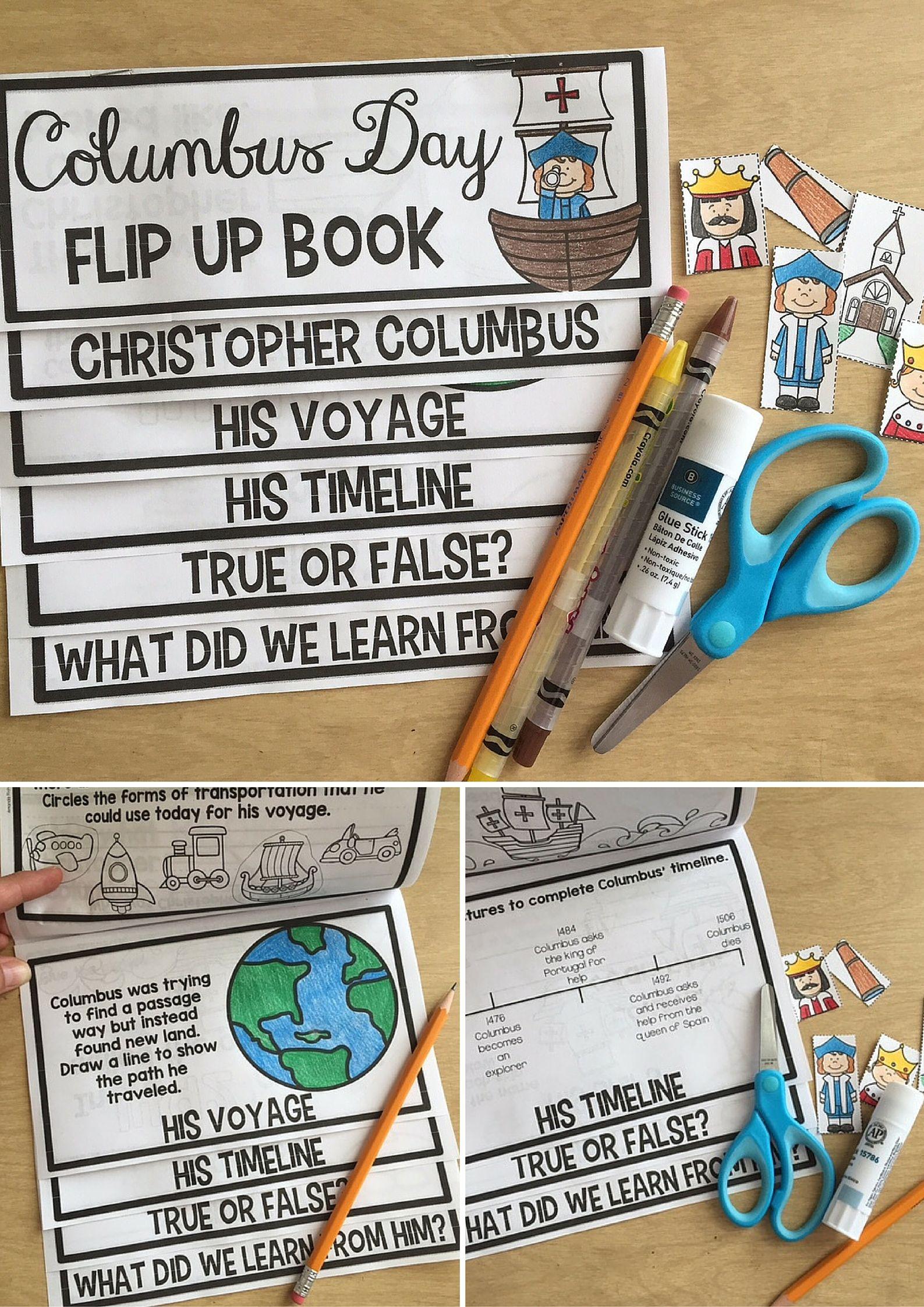 Columbus Day Activities Flip Up Book