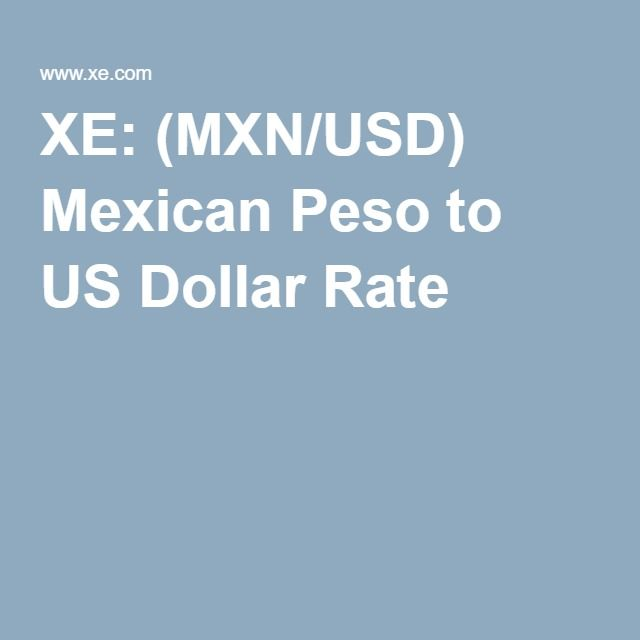 Xe Mxn Usd Mexican Peso To Us Dollar Rate