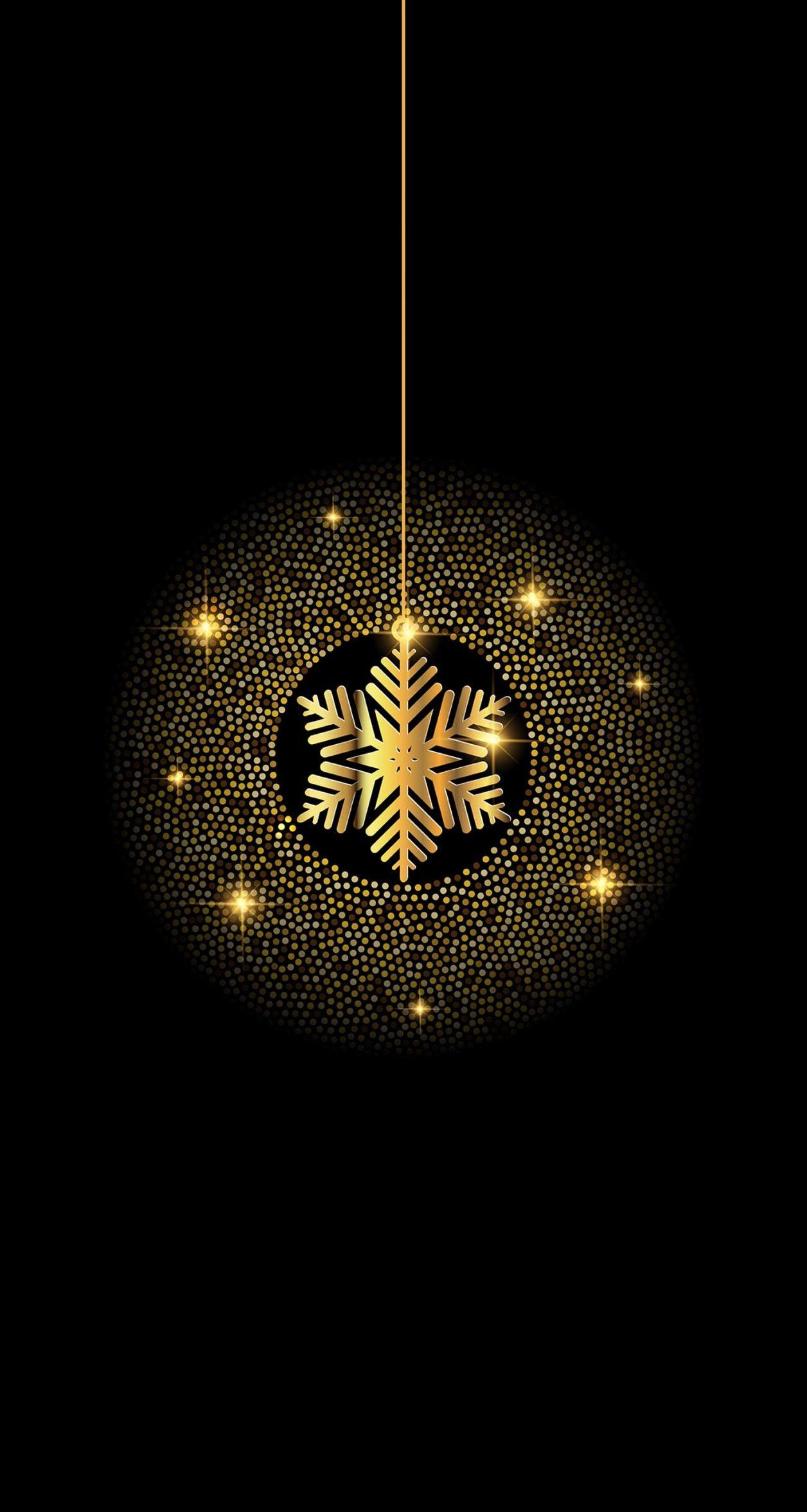 Black And Gold Snowflake Christmas Winter Wonderland