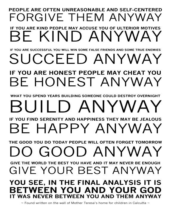 Mother Teresa's - Do it Anyway Poem - Available Sizes (8x10) (11x14) (16x20) great for my classroom!