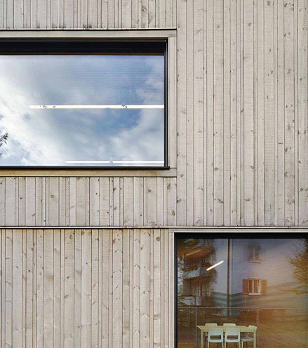 A Passive house, core walls and ceiling in concrete, preassembled construction for highly insulated external elements