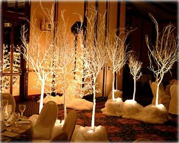 Love the white trees as you walk down add some sparking snow flacks and ice blue and silver crystals <3