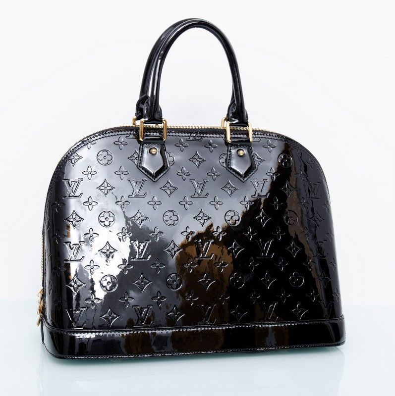 Сумка Louis Vuitton Alma GM черная лакированная кожа. Размер 39х29х19см #18891