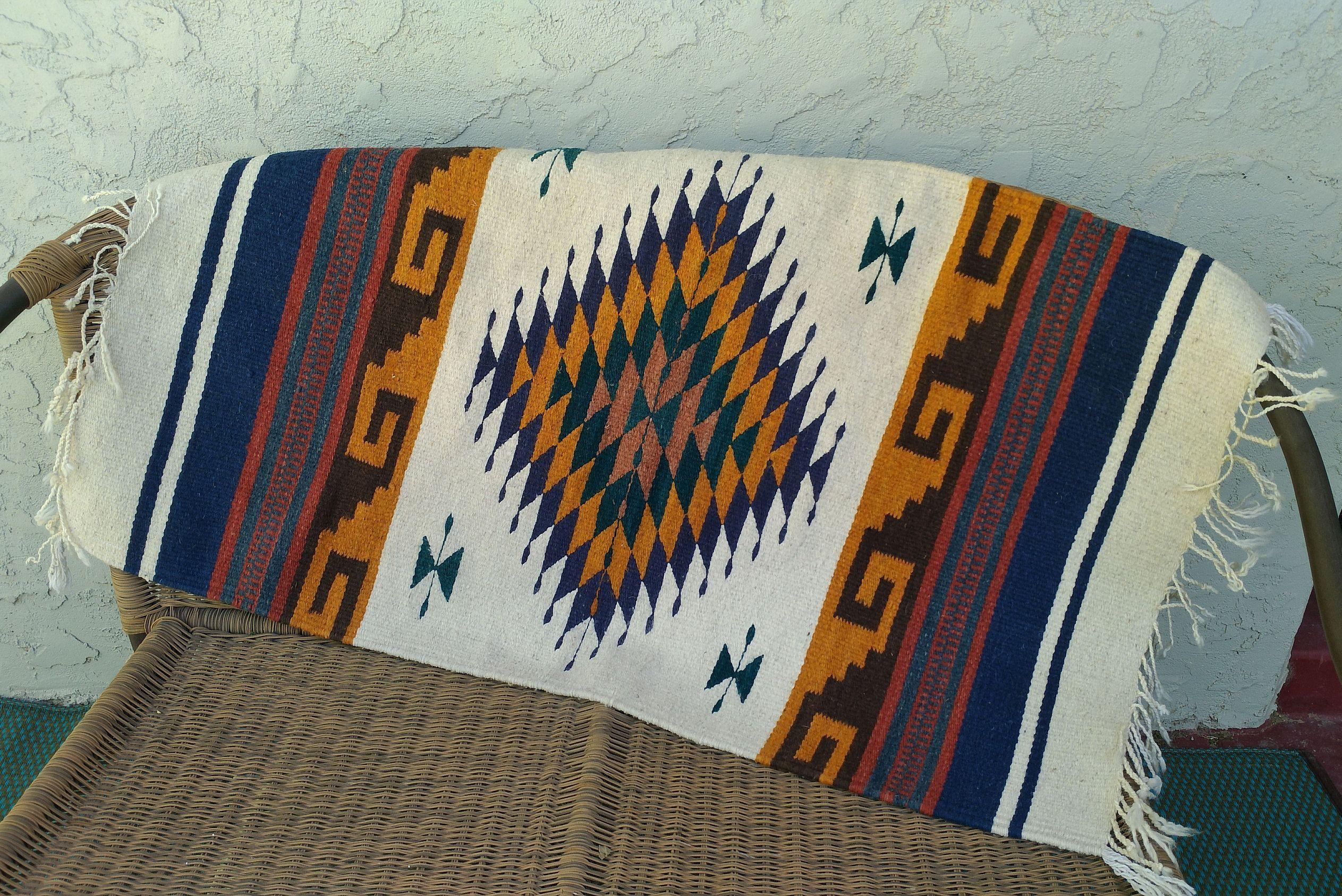 Oaxcan Zapotec Wool Rug 24 X 46 Handwoven Vintage Mexican Rug