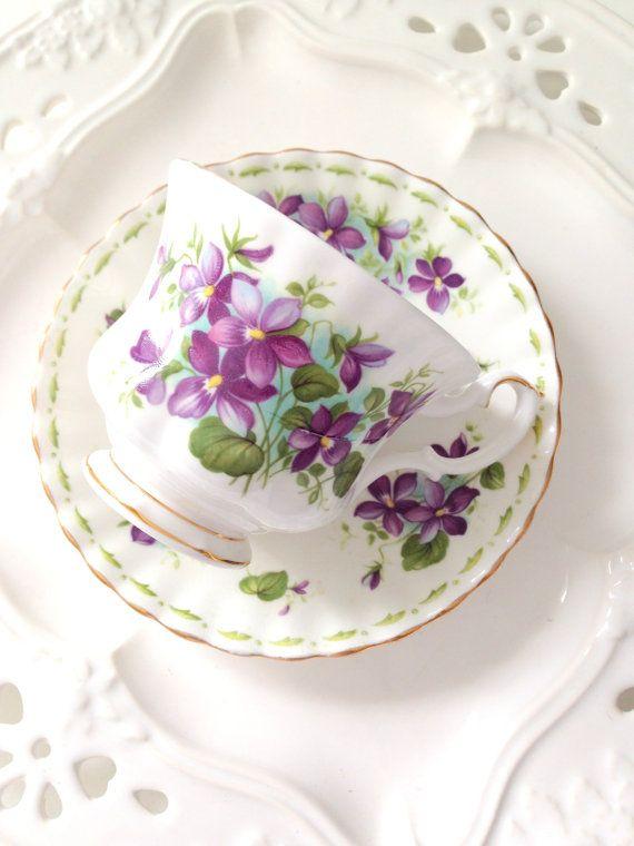 Vintage English Royal Albert Bone China Violets by MariasFarmhouse