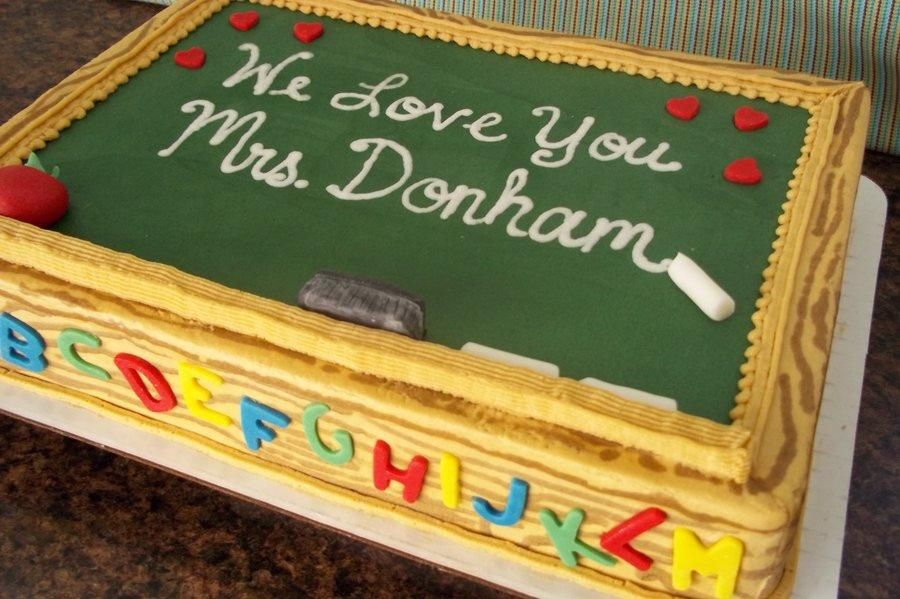 1 X2f 4 Sheet Cake Iced And Decorated In Butter Cream With Some Mmf Decoration Teacher Cakes School Cake Teachers Day Cake