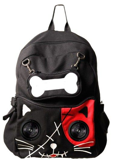 Black Gothic Emo Red Cat Kitty Speaker Rucksack Backpack By